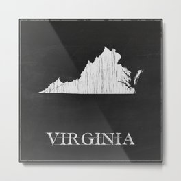 Virginia State Map Chalk Drawing Metal Print
