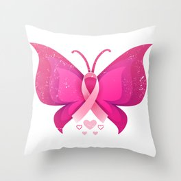 Pink Butterfly Fight Breast Cancer Throw Pillow