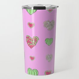 For the love of Watermelon - pink background Travel Mug