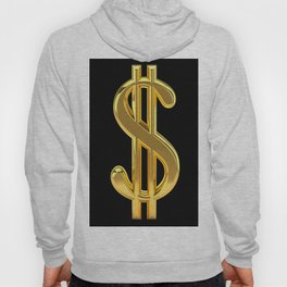 Gold Dollar Sign Black Background Hoody