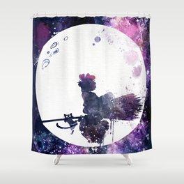Kiki & Jiji Flying Over The Moon Kiki's Delivery Service Shower Curtain
