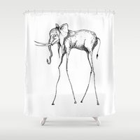 elephant Shower Curtains featuring Elephant by Nicole Cioffe