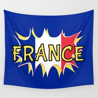 france Wall Tapestries featuring France by mailboxdisco