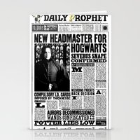 """snape Stationery Cards featuring Daily Prophet """"NEW Head Master, Severus Snape"""" by Win Graphics"""