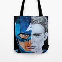 steve rogers Tote Bags featuring Steve Rogers by Goolpia