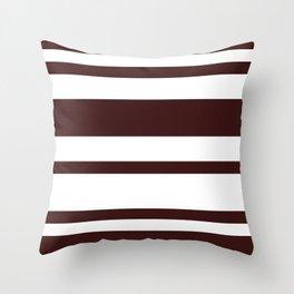 Mixed Horizontal Stripes - White and Dark Sienna Brown Throw Pillow