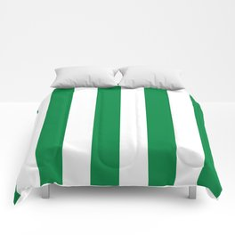 Classic Cabana Stripes in White + Kelly Green Comforters