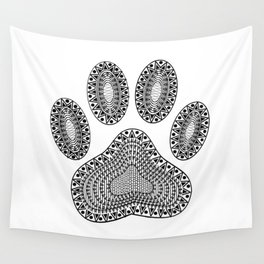 Ink Dog Paw Print Wall Tapestry