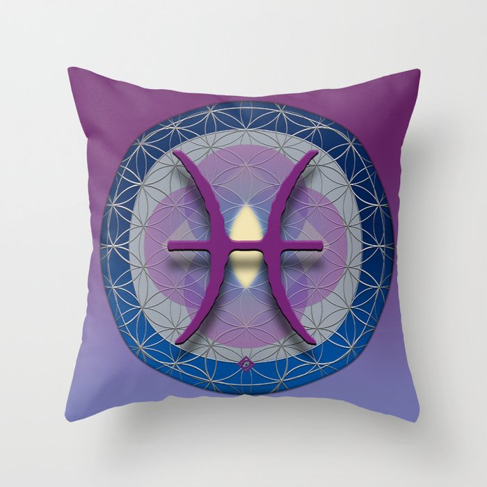 Flower of Life PISCES Astrology Design Throw Pillow