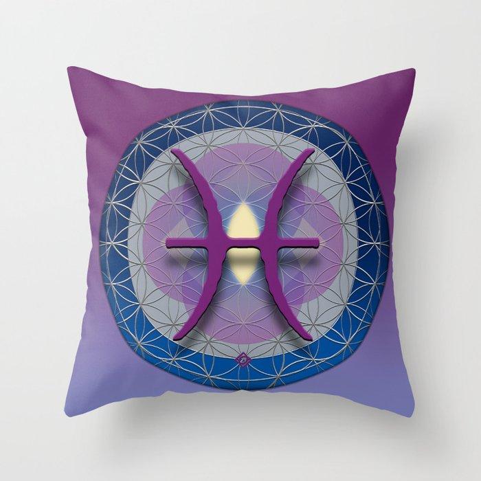 PISCES Flower of Life  Astrology Design Throw Pillow