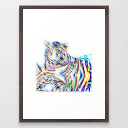 Tiger 3, glitched  Framed Art Print