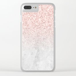 She Sparkles Rose Gold Pink Concrete Luxe Clear iPhone Case