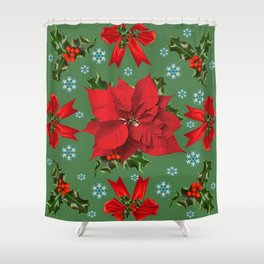 SNOW FLAKES & RED CHRISTMAS POINSETTIA HOLLY BERRIES ART Shower Curtain