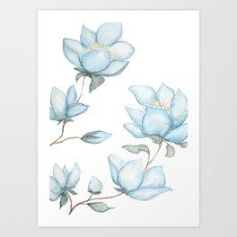 Blue Magnolias Art Print