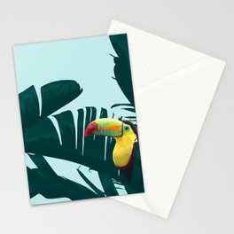Green Toucan Tropical Banana Leaves Pattern Stationery Cards