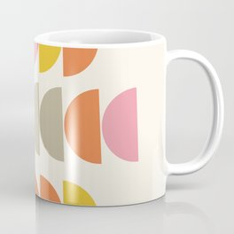 Cute Geometric Shapes Pattern in Pink Orange and Yellow Coffee Mug