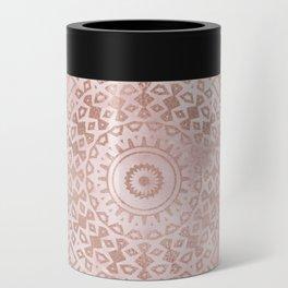 Misty pink marble rose gold mandala Can Cooler