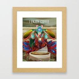 Rainbow Mantis Shrimp Enjoys Coffee Framed Art Print