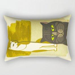 Japanese, Cat, Cubism, Woodblock Print, Cherry Blossom, Midcentury, Modern Rectangular Pillow