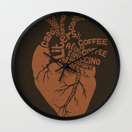 Coffee Lover Heart Wall Clock