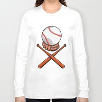 baseball Long Sleeve T-shirts featuring Baseball by mailboxdisco