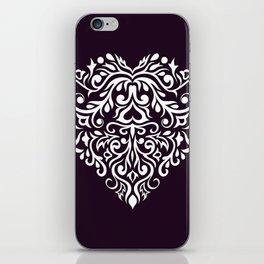 white damask heart iPhone Skin