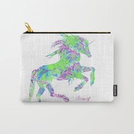Green, purple and blue psychedelic unicorn print Carry-All Pouch