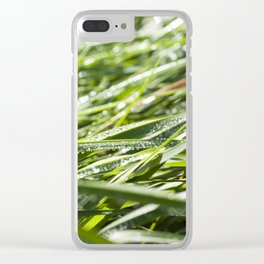 drops of water and green grass Clear iPhone Case