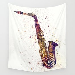 An abstract watercolor print of a Saxophone Wall Tapestry