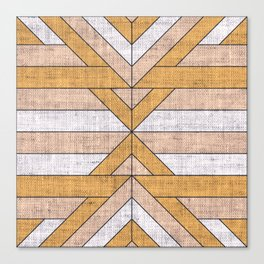 Geometric on Grunge Textile Canvas Print