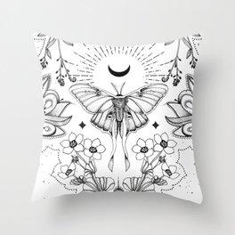 Bohemian Luna Moth On White Throw Pillow