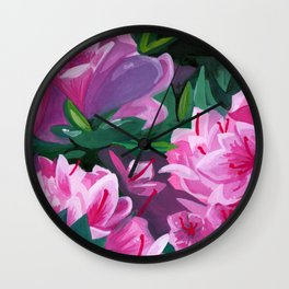 Pink Watercolor Floral Wall Clock