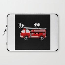 Panda Bear With Fire Engine Car Design Motif Laptop Sleeve