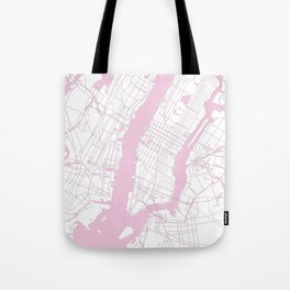 New York City White on Pink Tote Bag
