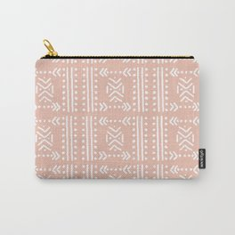 Mudcloth No.4 in Blush + White Carry-All Pouch