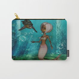 Cute little mermaid with turtle Carry-All Pouch