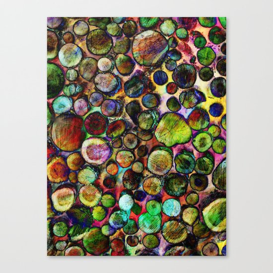 Colored Wood Pile 2 Canvas Print