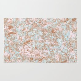 Mint Blush & Rose Gold Metallic Marble Texture Rug