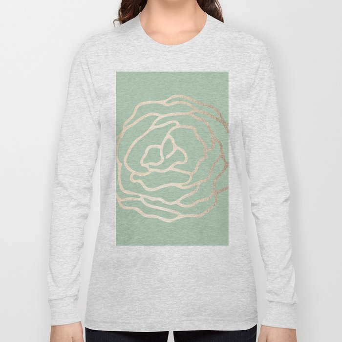 Rose White Gold Sands on Pastel Cactus Green Long Sleeve T-shirt