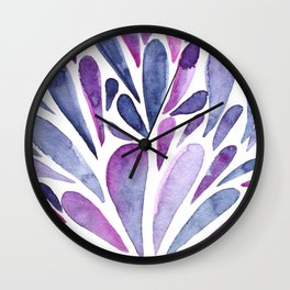 Watercolor artistic drops - purple and indigo Wall Clock