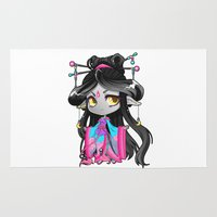chibi Area & Throw Rugs featuring Chibi Luna by Warbunny