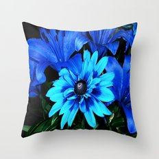 Electric Blue Flowers Throw Pillow