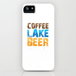 Coffee Lake Beer Repeat Distressed Alcohol Caffeine Lovers iPhone Case