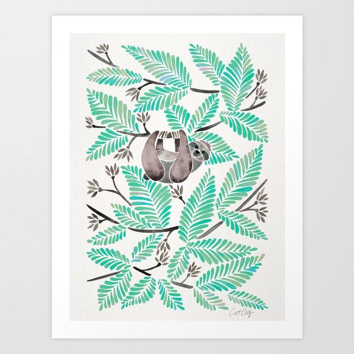 Happy Sloth – Tropical Mint Rainforest Art Print
