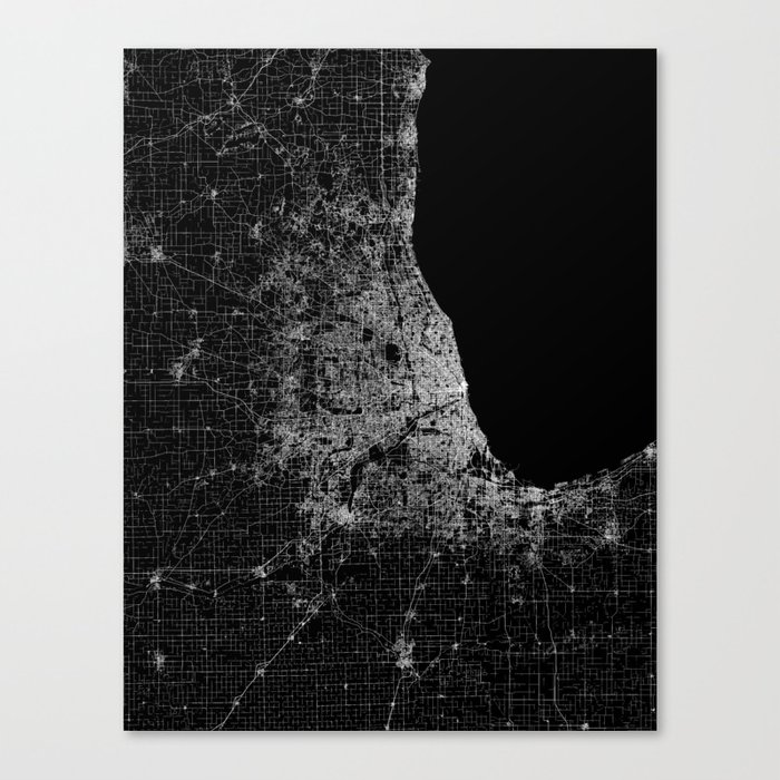 Chicago Map Canvas.Chicago Map Canvas Print By Linelinelines Society6