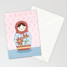 Matryoshka Doll (red & blue) Stationery Cards
