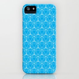 Icosahedron Pattern Bright Blue iPhone Case