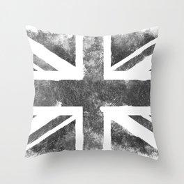 Grey UK Flag Throw Pillow