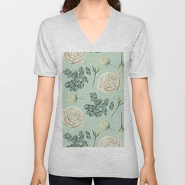 Rose Pattern Cream + Mint Green Unisex V-Neck