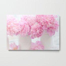 Romantic Shabby Chic Pink Peonies White Jars   Metal Print